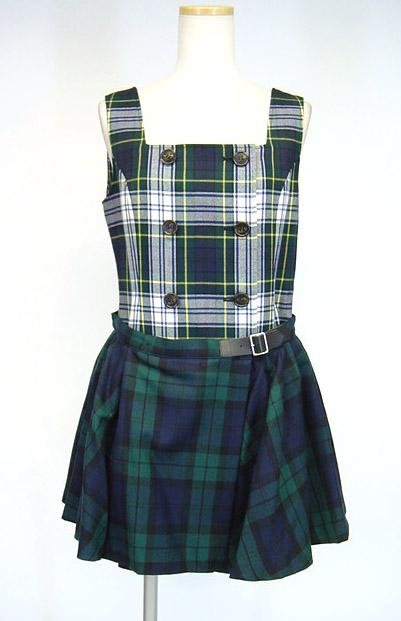 Jane Marple タータンチェックエプロン付きジャンパースカート