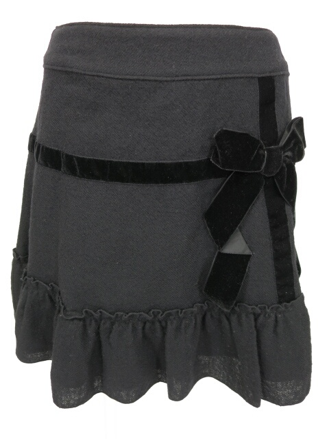 Emily Temple cute ベロアリボン付きウールスカート