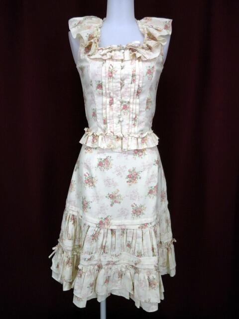 Victorian maiden ローズブーケ柄ノースリーブブラウス&ピンタックギャザースカート