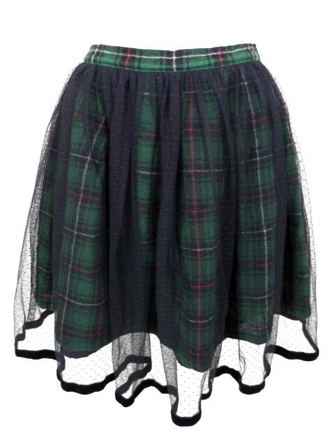 Emily Temple cute ドットチュール重ねチェック柄スカート