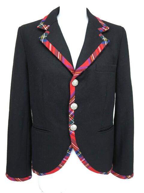 Jane Marple タータンチェックパイピングジャケット