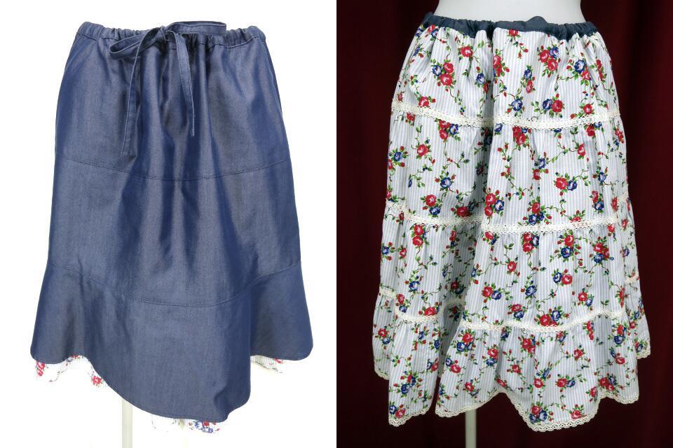 Jane Marple ローズストライプ柄リバーシブルスカート