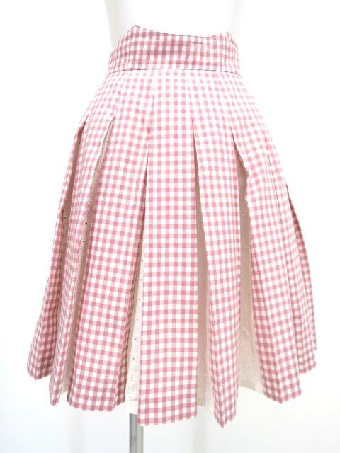 Jane Marple ギンガムチェック柄レースボックスプリーツスカート