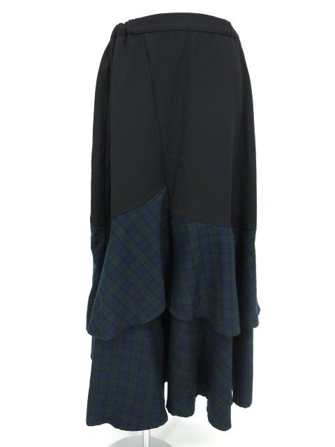 KUNIKUNI / チェック切替フレアロングスカート