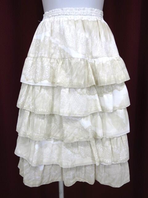 Jane Marple レースプリントティアードフリルスカート