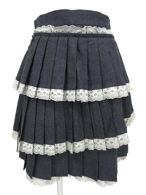 Jane Marple レース付きティアードプリーツスカート