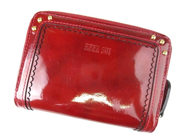 ANNA SUI バタフライチャーム付き ラウンドファスナー エナメル折り財布