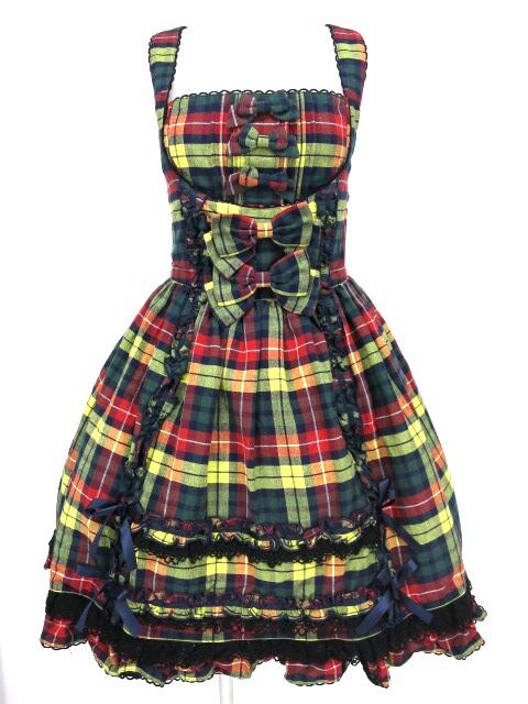 Metamorphose タータンチェックフロントあきジャンパースカート