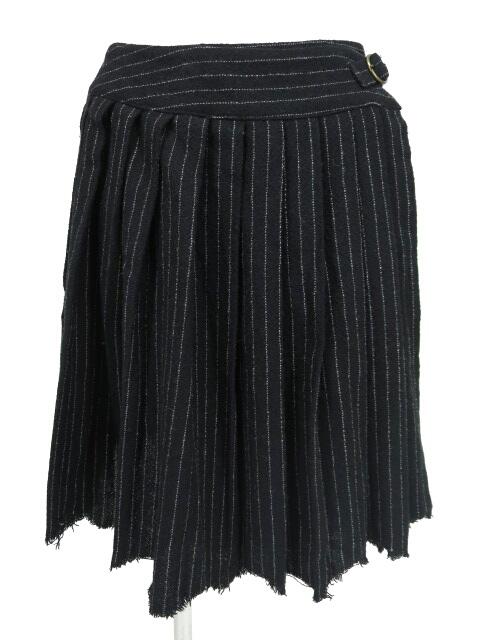Jane Marple ストライプ柄プリーツ巻きスカート