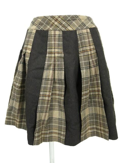 Jane Marple タータンチェック切替ウールスカート