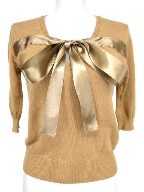 Jane Marple Dans le Salon サテンリボン付き五分袖ニットセーター