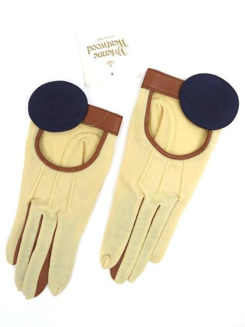 Vivienne Westwood オーブワッペン付きレザー×ニット手袋