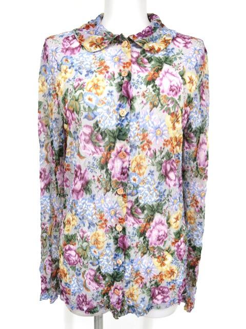 Jane Marple Dans le Salon しわ加工花柄シースルーブラウス
