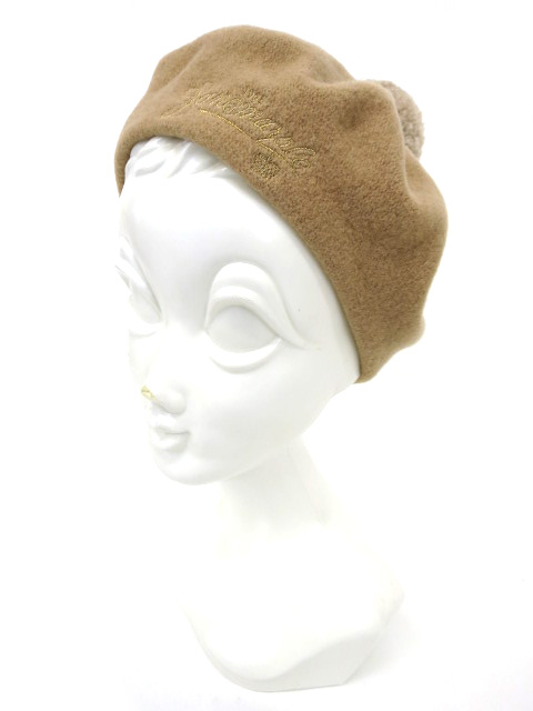 Jane Marple ロゴ刺繍 ポンポン付きベレー帽
