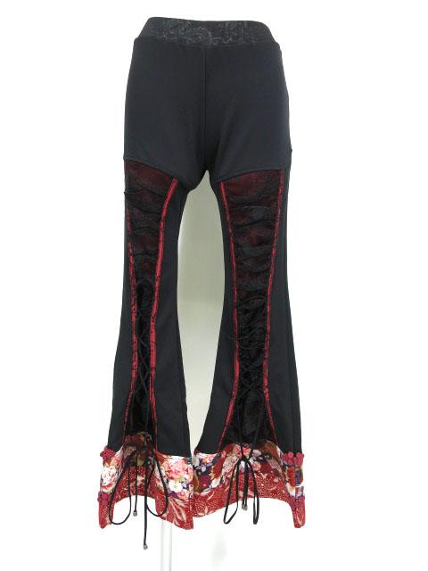 Qutie Frash 裾和柄編み上げブーツカットパンツ