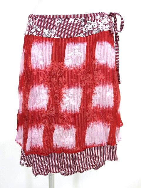gouk チェック柄シフォン重ねストライプ巻きスカート