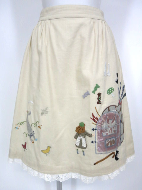 Jane Marple 暖炉アップリケ刺繍スカート