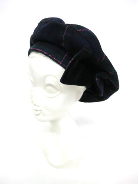 Vivienne Westwood サイドリボンチェックベレー帽