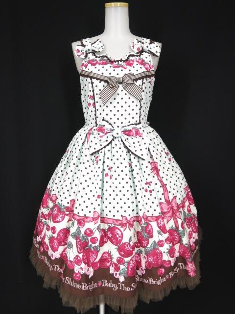 BABY, THE STARS SHINE BRIGHT いちごみるくなStrawberry Days柄 チュチュジャンパースカート