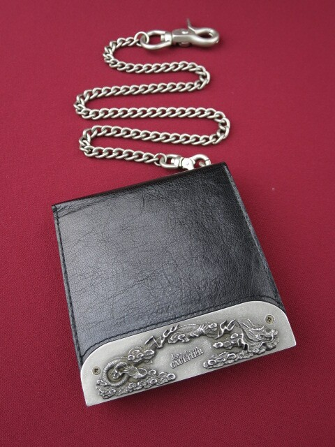 Jean Paul GAULTIER ドラゴンメタルプレート折り財布&ウォレットチェーン