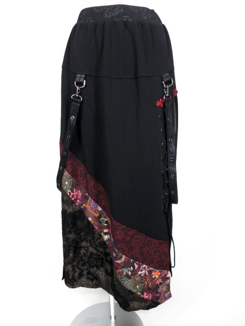 Qutie Frash ストラップベルト付き和柄切替ロングスカート