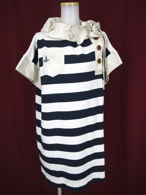 Vivienne Westwood RED LABEL アシンメトリー衿ボーダー半袖プルオーバー