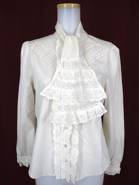 Jane Marple レース付きボウタイ衿ブラウス