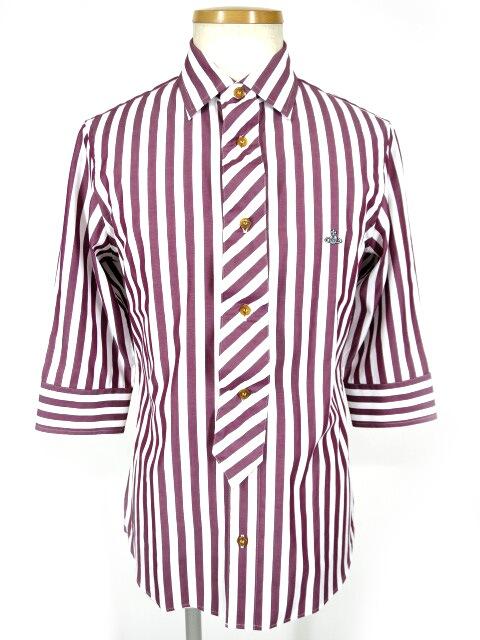Vivienne Westwood MAN ストライプ柄七分袖ネクタイシャツ