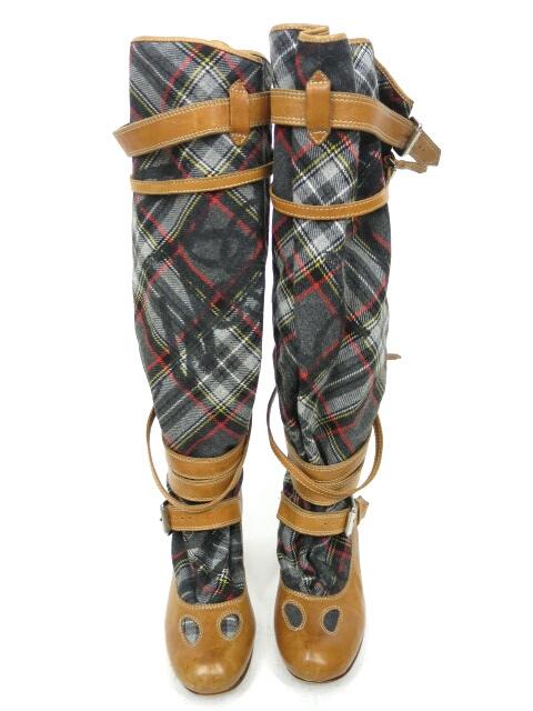 Vivienne Westwood タータンチェックヒールブーツ
