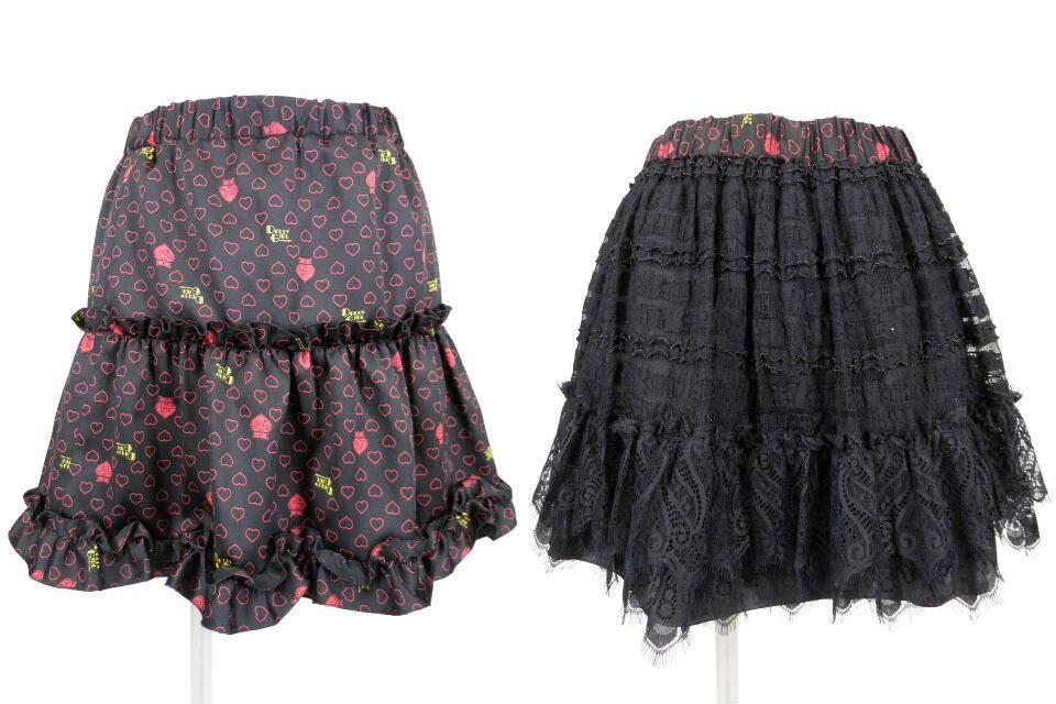 DOLLY GIRL レース&ハート柄リバーシブルスカート