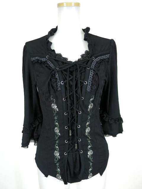 OZZ ONESTE 薔薇刺繍入り編み上げ付き七分袖カットソー