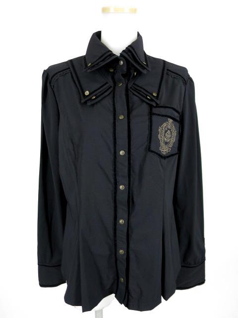 OZZ ANGELO エンブレム刺繍入りシャツ