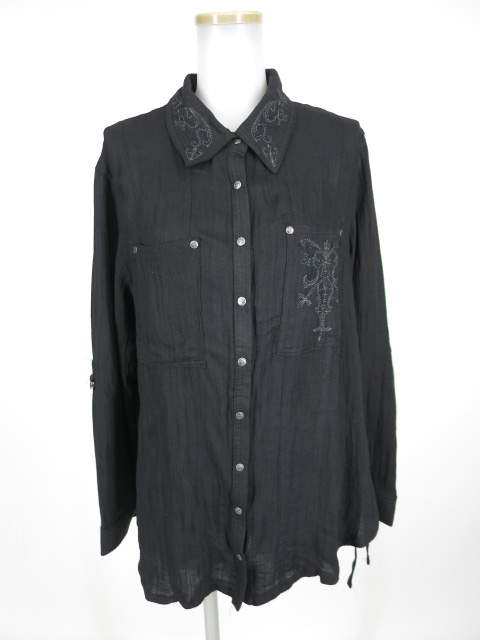 Ozz Croce ラペル&胸刺繍入りシャツ
