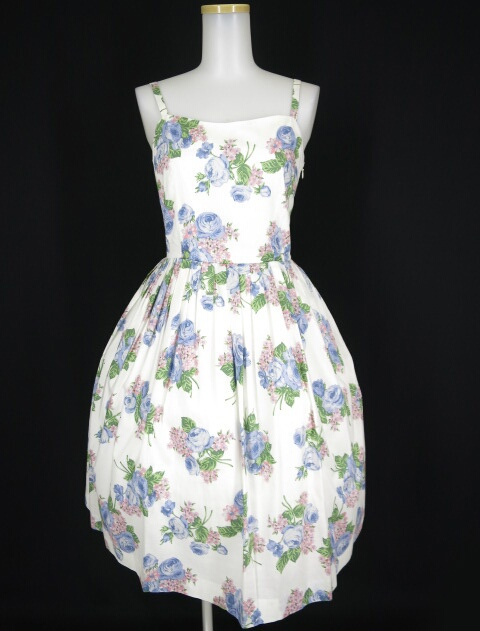 Jane Marple ローズブーケプリントのストラップドレス