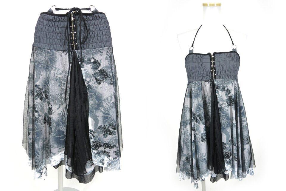 OZZ ONESTE メッシュチュール重ね和柄2wayスカート