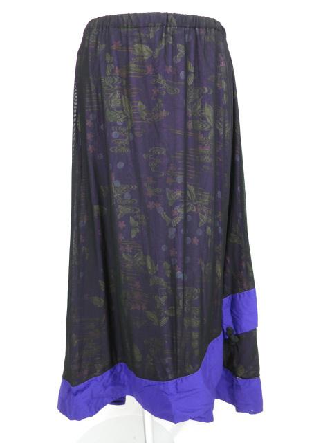 gouk メッシュチュール重ね蝶和柄ロングスカート