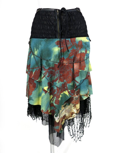 Ozz On hikozoh 和柄&スパンコール付きネット2wayスカート