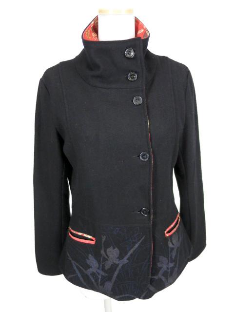 gouk 裏地紅葉柄ウールジャケット