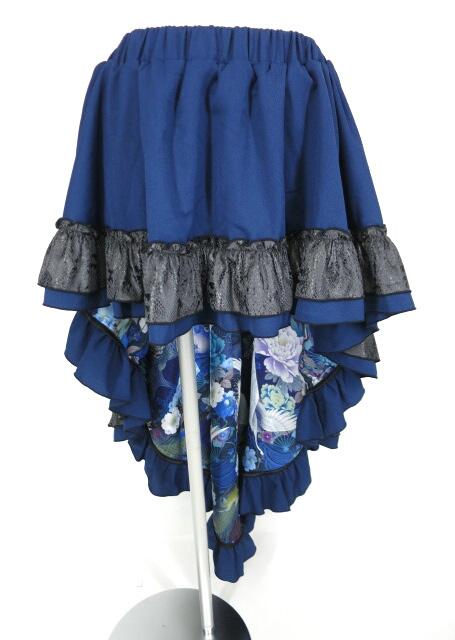 Qutie Frash パイソンフリル付き裏地和柄ロングスカート