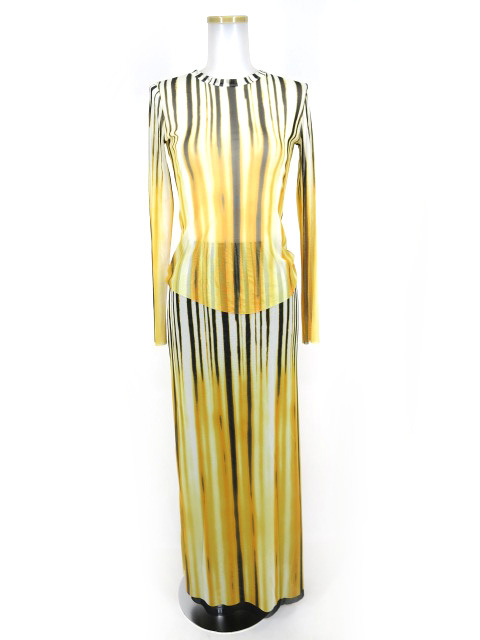 Jean Paul GAULTIER FEMME グラデーションストライプ柄パワーネットカットソー&スカートセット