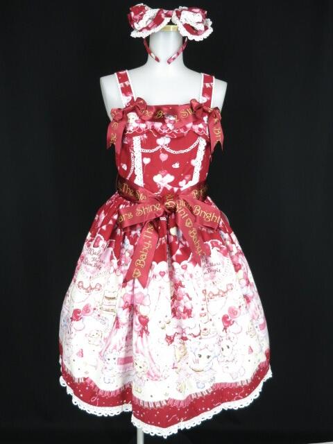 BABY, THE STARS SHINE BRIGHT なかよしくみゃちゃんの BABY Anniversary柄 ソフィジャンパースカート&カチューシャ