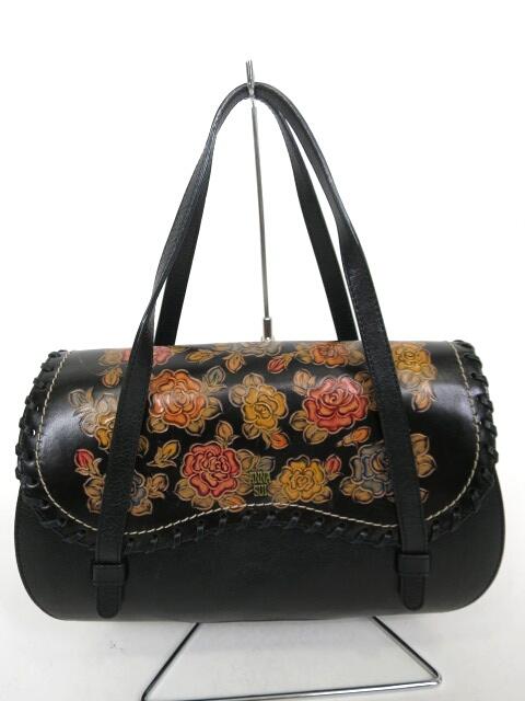 ANNA SUI ローズブーケ ローズ型押し×編み込みデザインレザーハンドバッグ