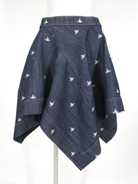 Vivienne Westwood RED LABEL オーブ刺繍変形デニムスカート