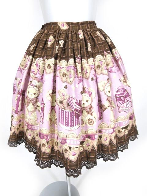 BABY, THE STARS SHINE BRIGHT くまくみゃちゃんのスウィートチョコレート柄スカート