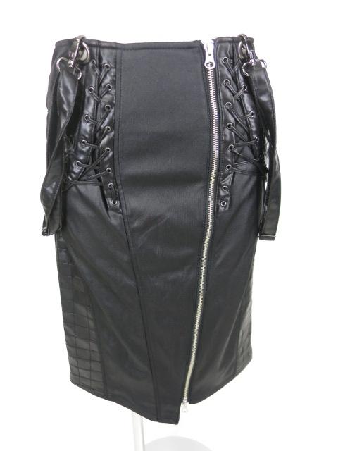 Ozz Croce サスペンダー付きアシンメトリージップスカート