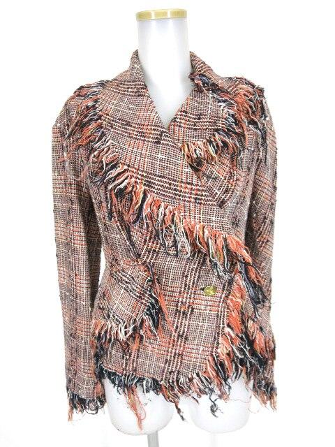 Vivienne Westwood チェック柄ツイードフリンジジャケット