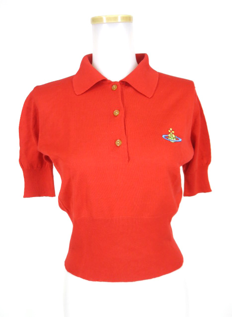 Vivienne Westwood RED LABEL オーブ刺繍入り綿ニット半袖ポロセーター