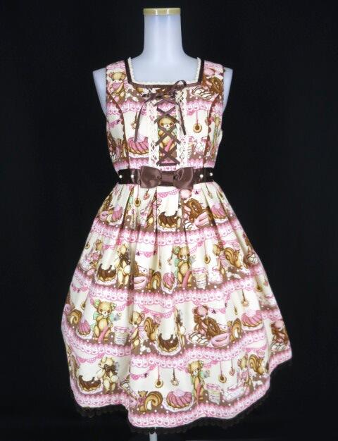 Angelic Pretty Little Bear's Cafeハイウエストジャンパースカート