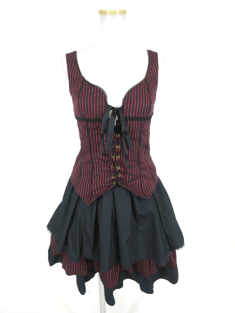 MIHO MATSUDA ストライプビスチェ&スカートセット