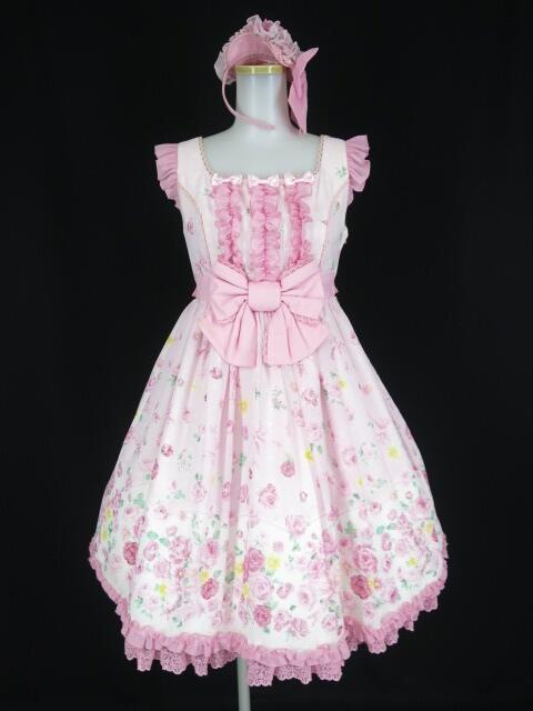 Angelic Pretty Powder Roseフリルジャンパースカート&カチューシャ